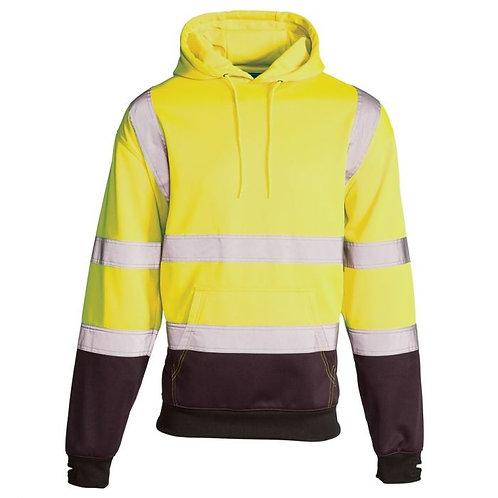 Supertouch Hi Vis Yellow 2 Tone Hooded Sweatshirt  H112
