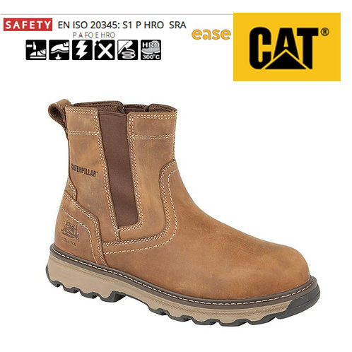 CAT Pelton ST Dark Beige Oily Leather Pull On Gusset Safety Boot CT026N