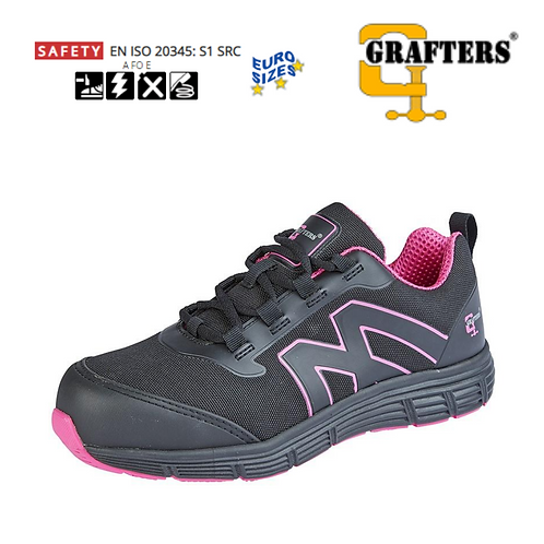 GRAFTERS Black/Hot Pink Nylon Mesh/PU Womens Safety Trainer L383A