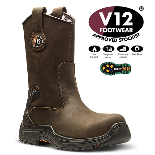 V12 Tigris Brown Waxy Unlined Rigger Boot V1607