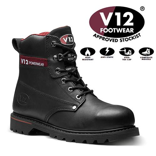 V12 Boulder Black S3 Derby Boot V1235