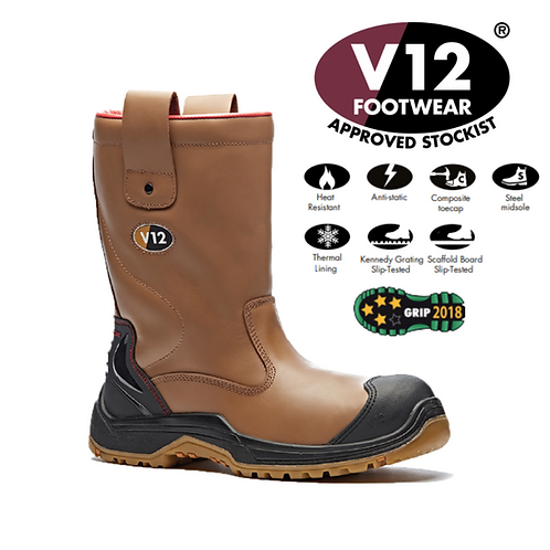 V12 Grizzly IGS Tan S3 HRO CI SRC Fleece Lined Rigger VR690.01