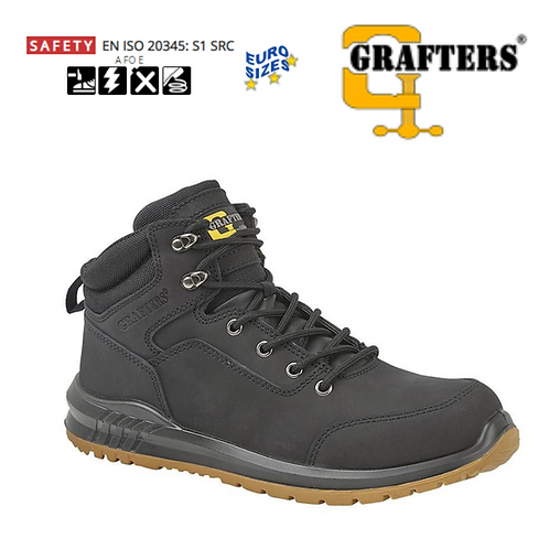 GRAFTERS Black Nubuck Leather Safety Ankle Boot M513A
