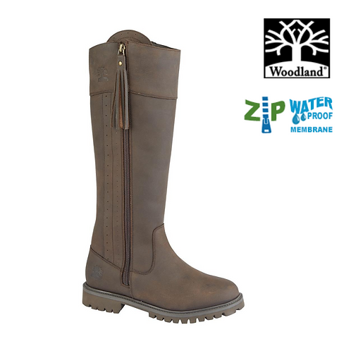 WOODLAND Bailey Dark Brown Waxy Leather Zip Up Waterproof Boot L250DB