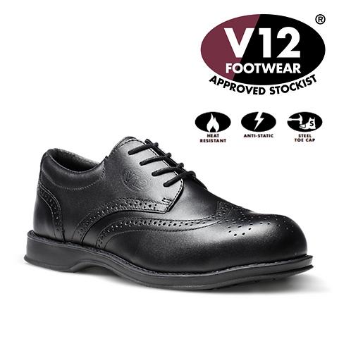 V12 Diplomat Black S1 Brogue Shoe VC100