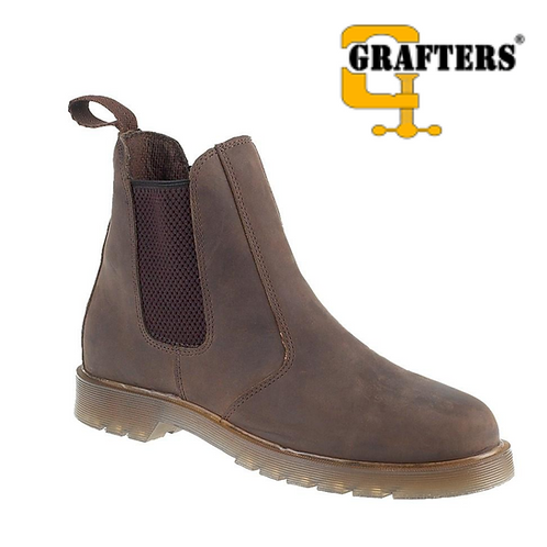 GRAFTERS Brown Waxy Leather Dealer Boot M573WB