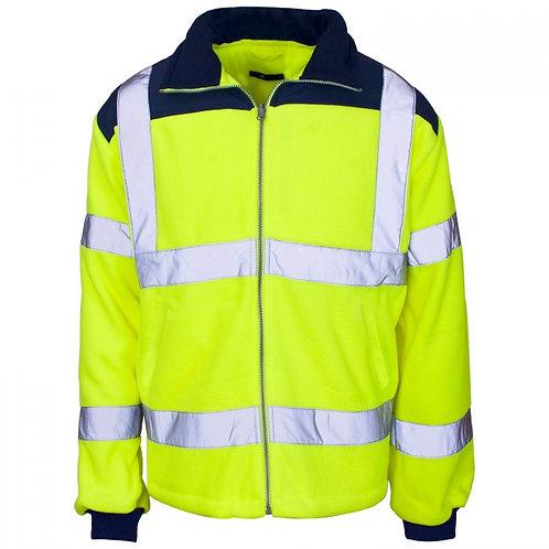Supertouch Hi Vis 2 Tone Yellow Rain Patch Fleece Jacket ISO 20471