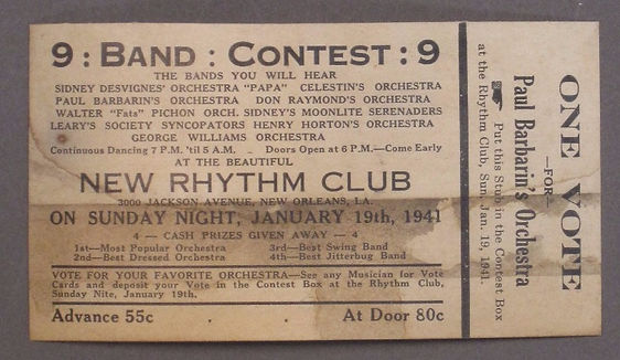 New Rhythm Club Jazz Concert Ticket
