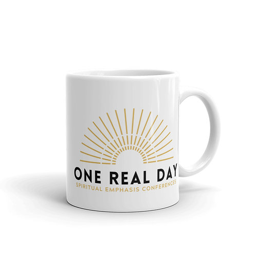 White glossy One Real Day mug