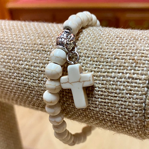 Vintage Cross Natural IVORY Stone Beads Bracelet with Charm Pendant