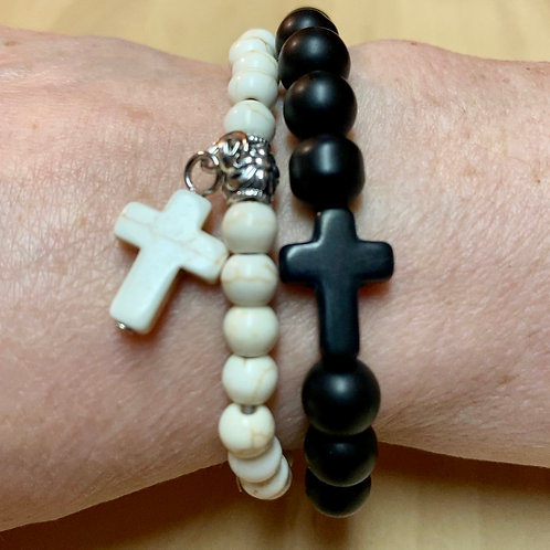 Natural Stone Bracelets (Double) - Ivory and Matte Black