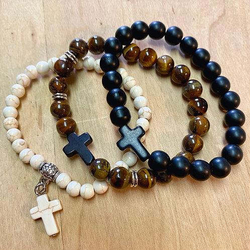 ALL THREE - Stone Cross Bracelets (Tripe) - Ivory, Matte Black, & Marbled