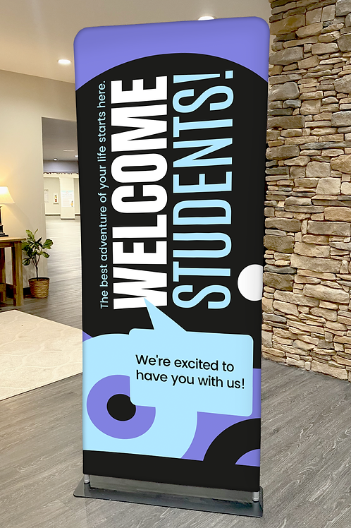 """STUDENT WELCOME - Pillowcase Display - 36"""" x 90"""" with Hardware (stand)"""