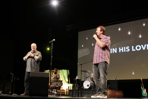 Scott singing with Mark Hall of Casting Crowns