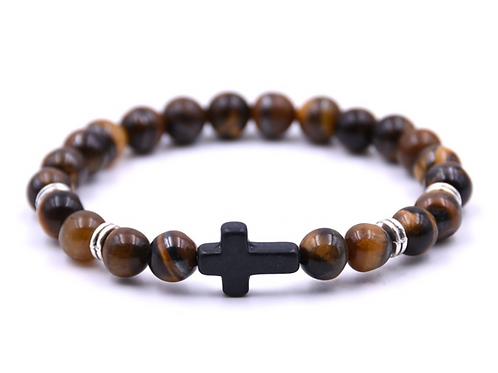 Natural Marbled Stone Cross Beaded Bracelet