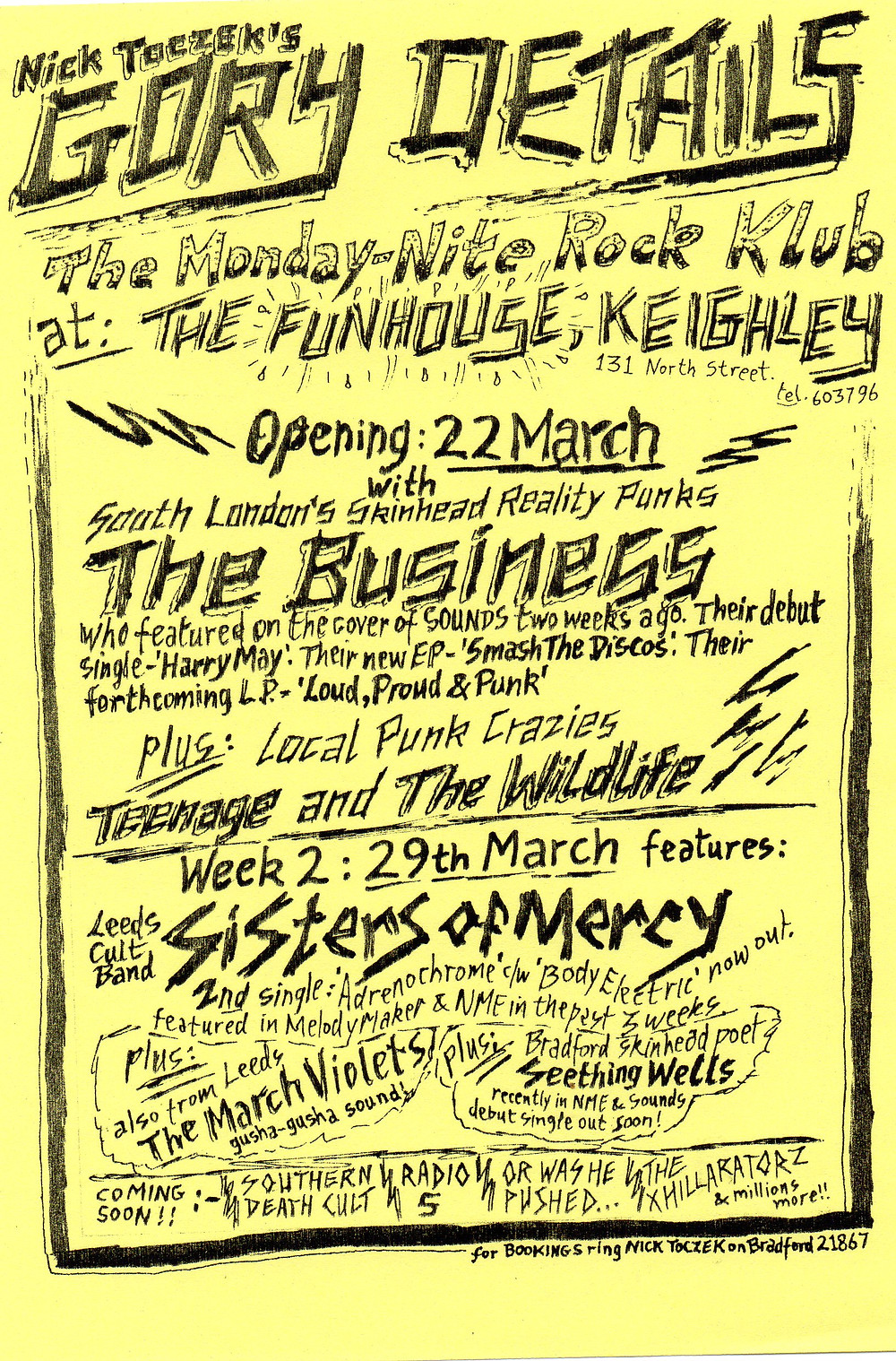 The first of many flyers advertising gigs put on by Nick, and it started at the Funhouse, Keighley.