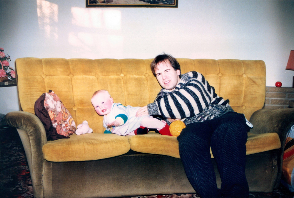 Paul (and young nephew) in his Thorpe Edge lounge (c.1985).