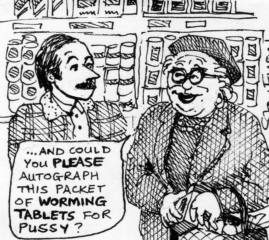 Stan Engel cartoon depicting Nick Toczek back in the early 1980s.