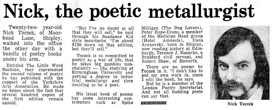 Nick Toczek inteview, Telegraph & Argus, 27 March 1973