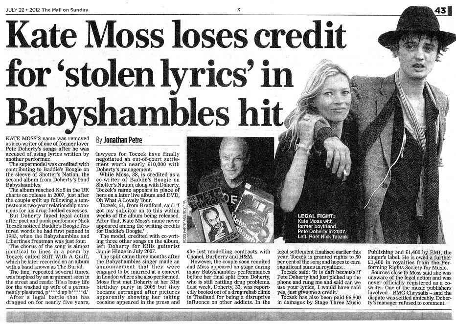 Babyshambles Nick Toczek Daily Mail