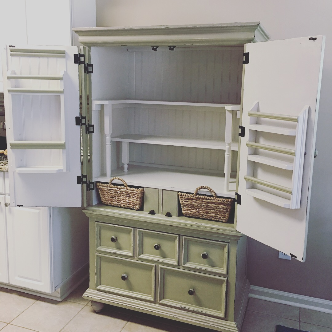 Repurposed Armoire Kitchen Pantry