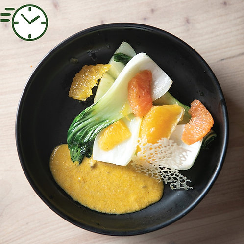Bok Choy et agrumes , sauce Xinxim tuile pour 4