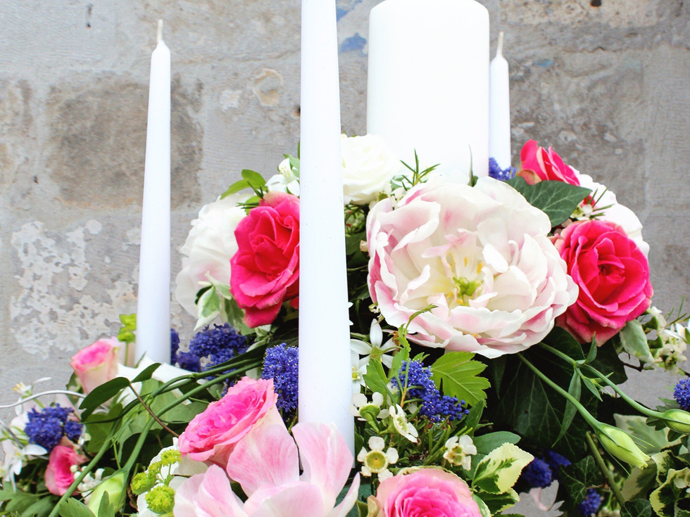 church wedding flower display by buds to bouquets beautiful peonies and greens