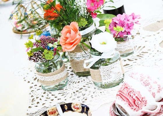 wedding table jam jar flowers by buds to bouquets bright & colourful
