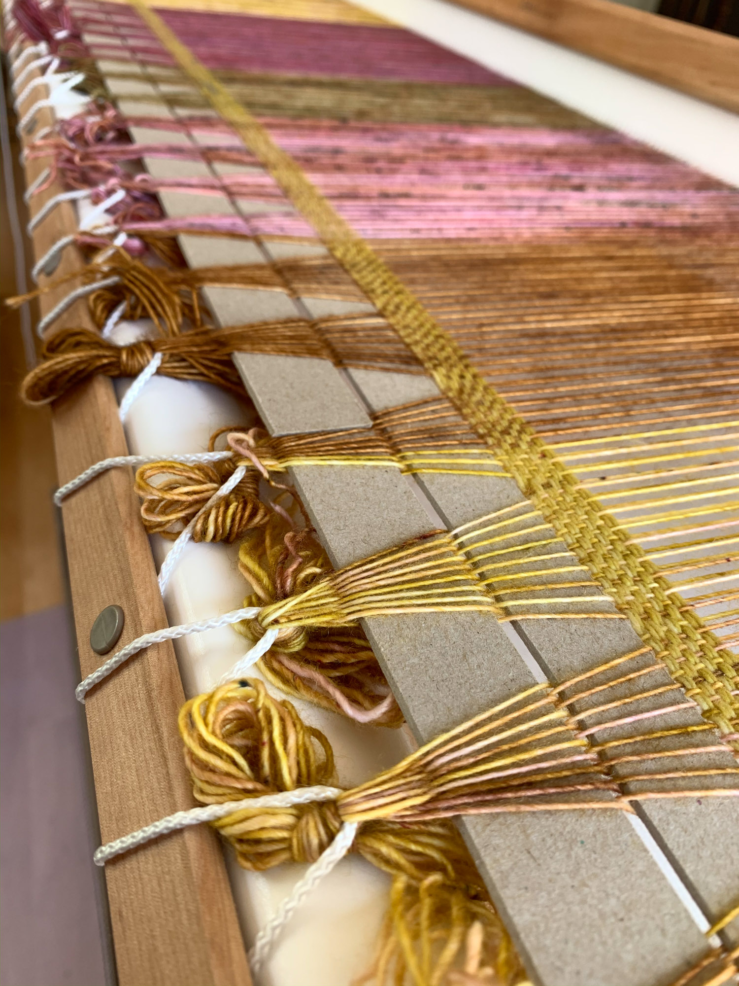 Lashing warp on to Rigid heddle loom