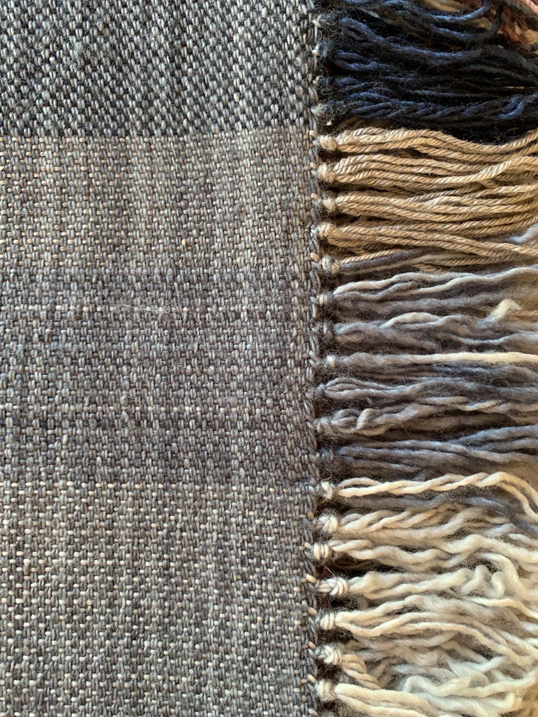 Edge stitching and fringe.