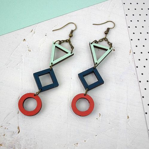 Geo Trio Drop Earrings