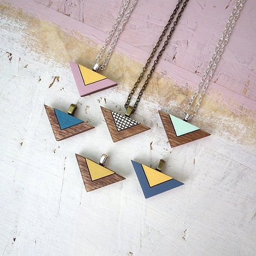 Double Triangle Wooden Necklace