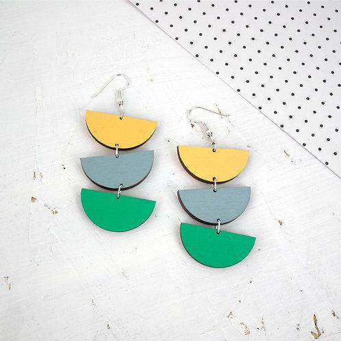 Geometric Semi Circle Drop Earrings