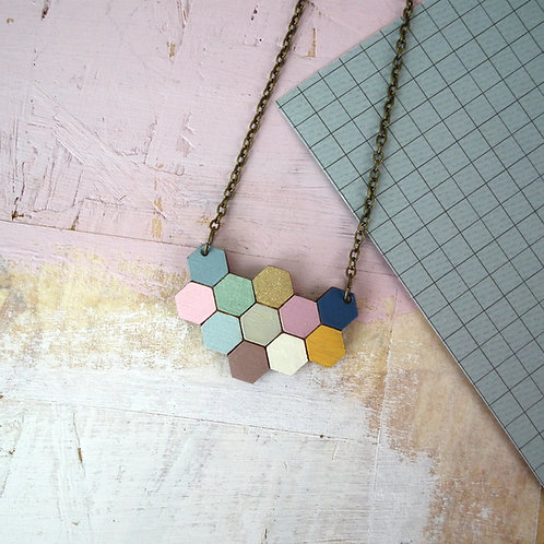 Limited Edition Pastel Hexagon Necklace