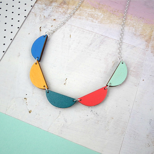 Statement Wooden Bunting Necklace