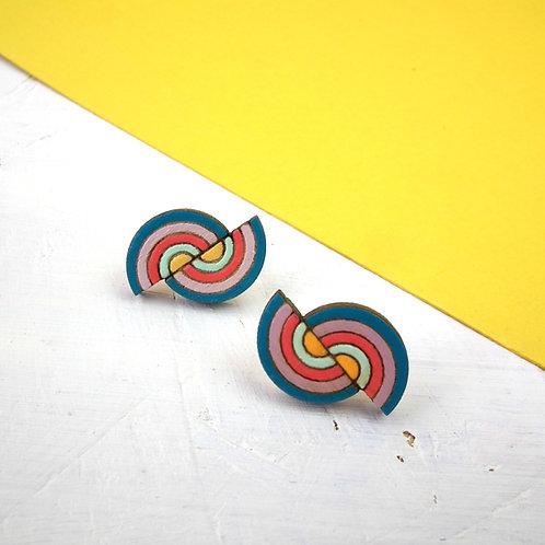 Double Rainbow Stud Earrings