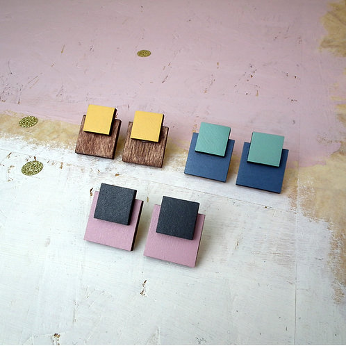 Double Square Wooden Stud Earrings