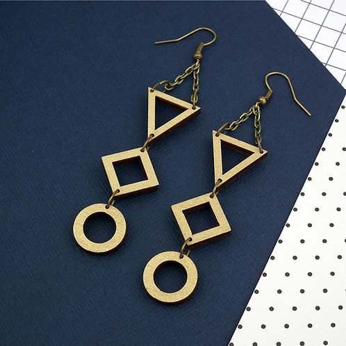 Geo Trio Gold Drop Earrings