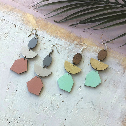 Abstract Gem Statement Geometric Earrings