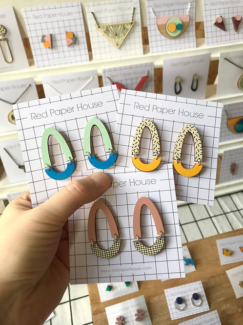 Wooden Hoop Drop Geometric Earrings