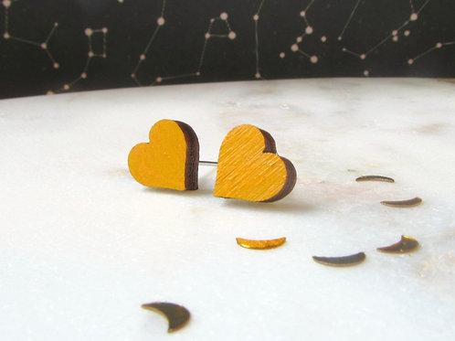 Mustard Heart Studs