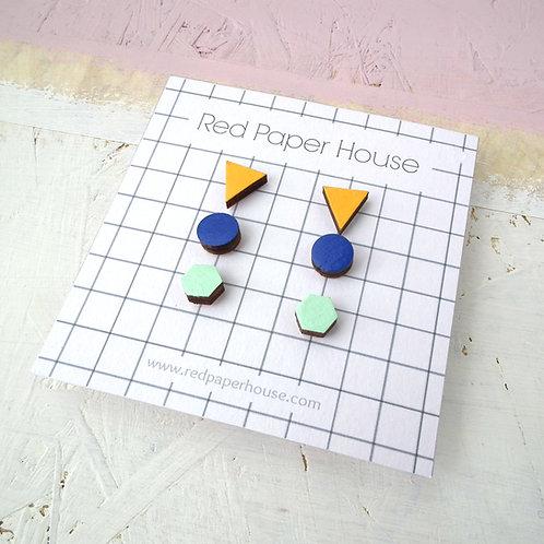 Geometric Trio Studs
