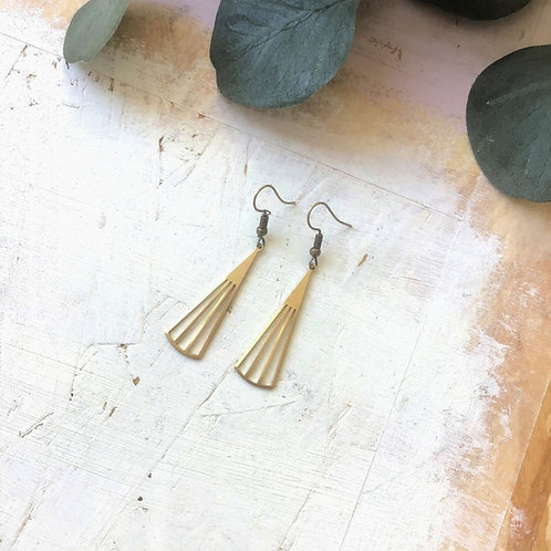 Brass Fan Drop Earrings