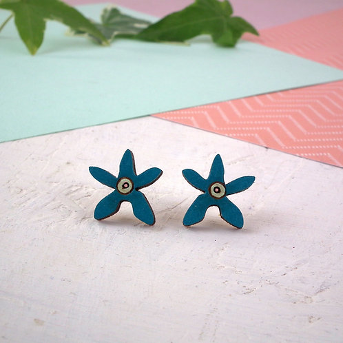 Wooden Flower Stud Earrings