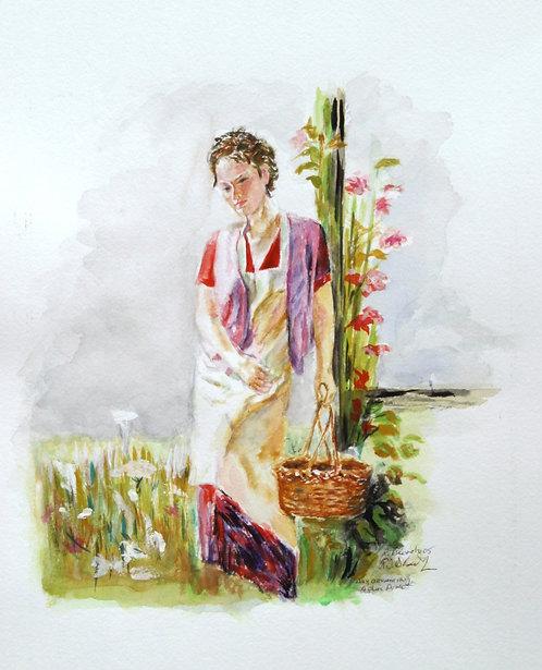 Girl with Basket (Premium Prints)