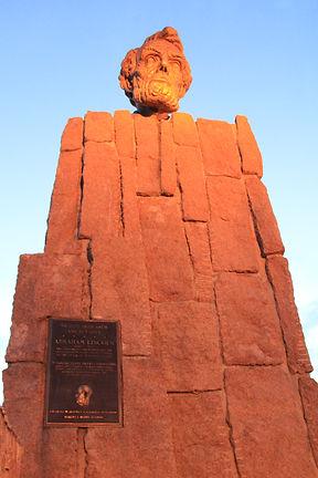 Professor Robert Russin's Sculpture (Head of President Abraham Lincoln) overlooking Highway 80's highest point in Wyoming