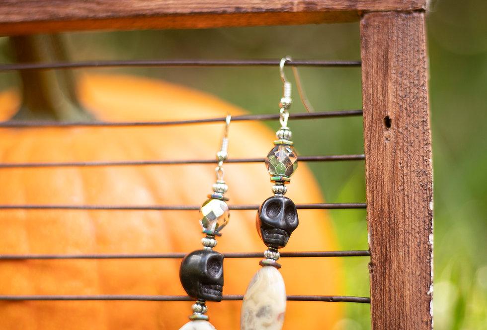 Black & White Skull Earrings