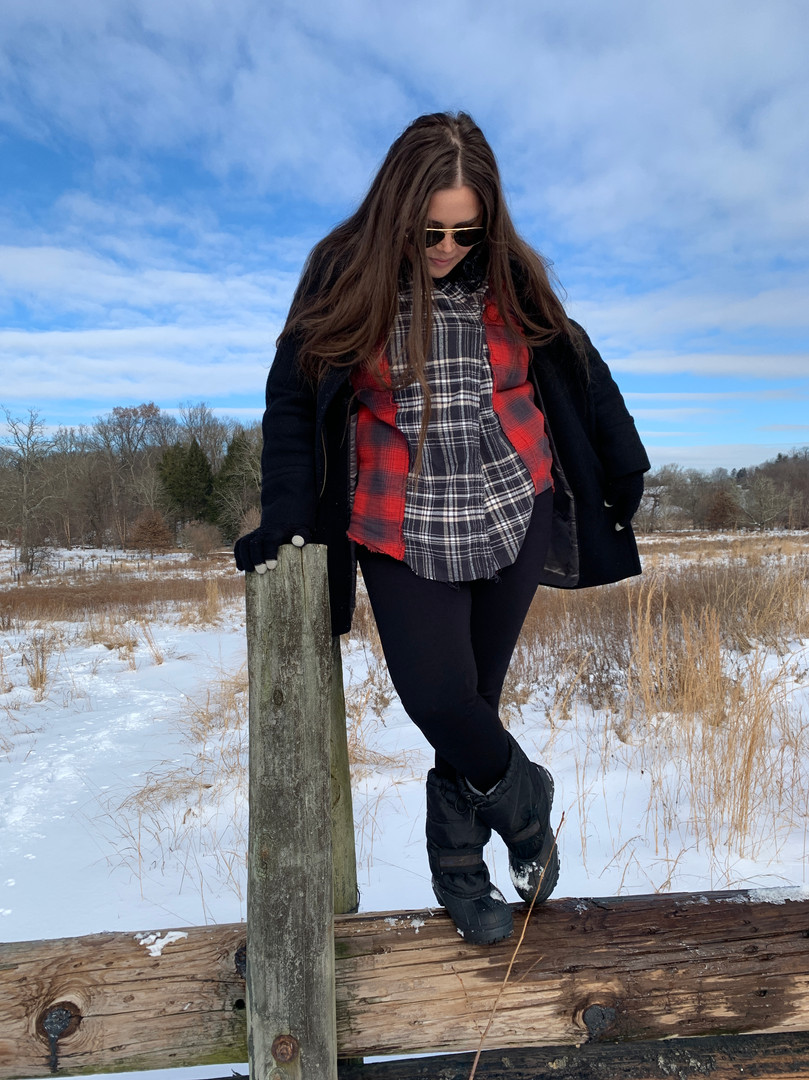 Bridgette in our Plaid Combo Long-Sleeve
