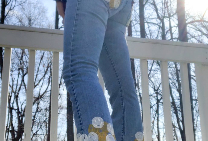 Smiley Face Low-Rise Flare Levis
