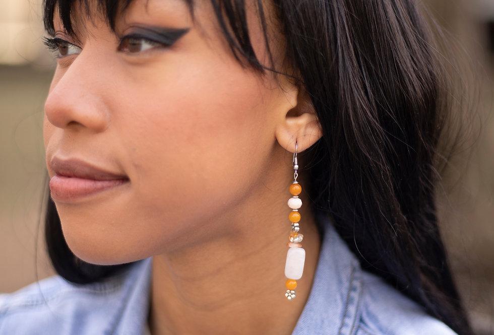White & Orange Earrings